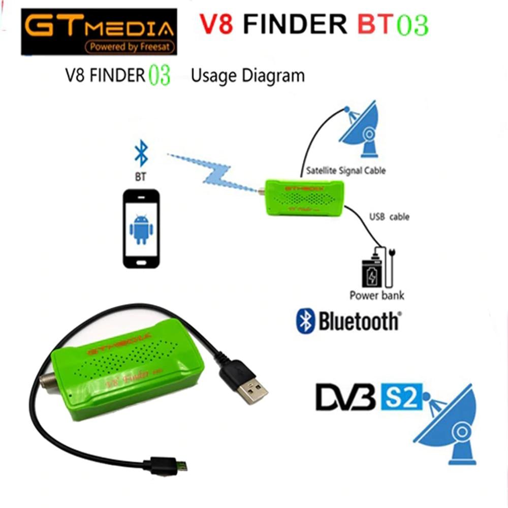 GTMEDIA Mini Satellite finder Bluetooth DVB-S2 V8 Finder BT03 Satfinder Unterstützt Android ios System Und iphone Für HD 1080p