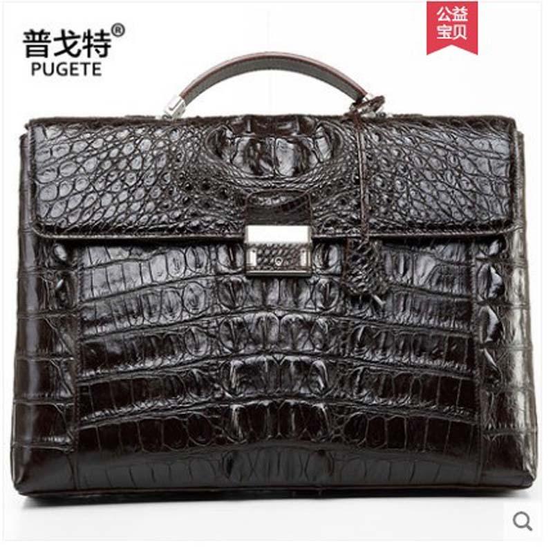 pugete 2019 Thailand  Crocodile leather business man bag briefcase men's leather bag authentic one shoulder bag men briefcase