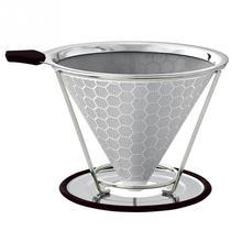 Paslanmaz Çelik Çift Katmanlı Kahve Filtresi Kullanımlık Kahve Damlatıcı Koni kaymaz Standı ve Fırça Petek