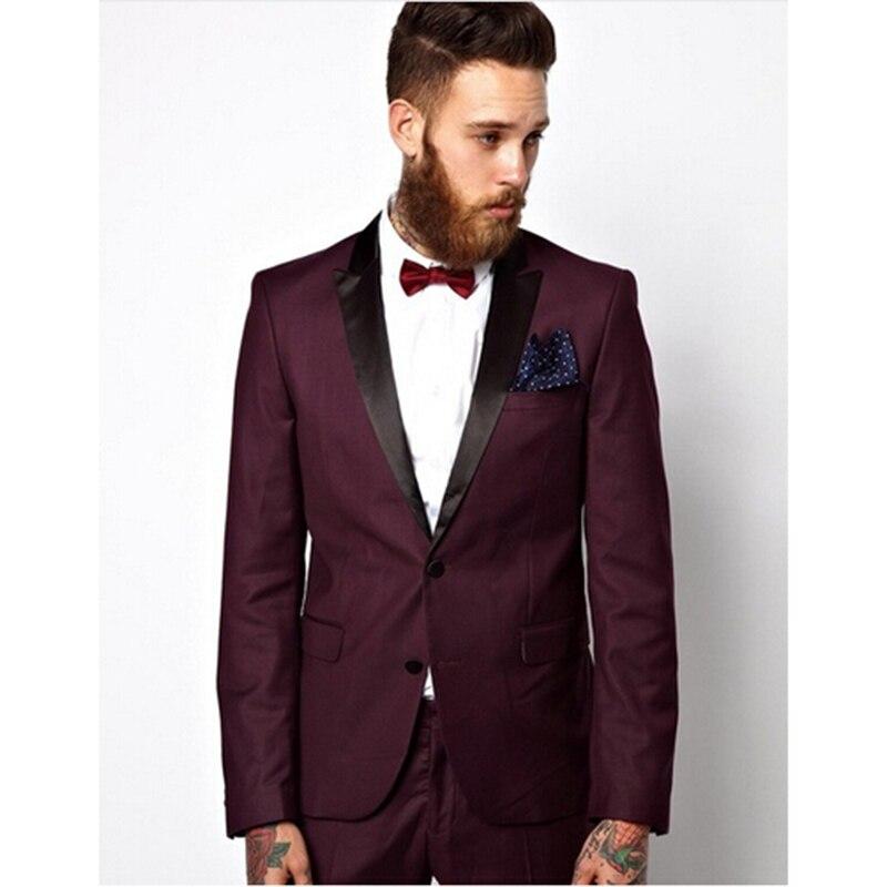 Guapo traje de novio Borgoña de un botón esmoquin para padrinos de boda para hombre trajes de fiesta de bodas novio (chaqueta + Pantalones + pajarita)