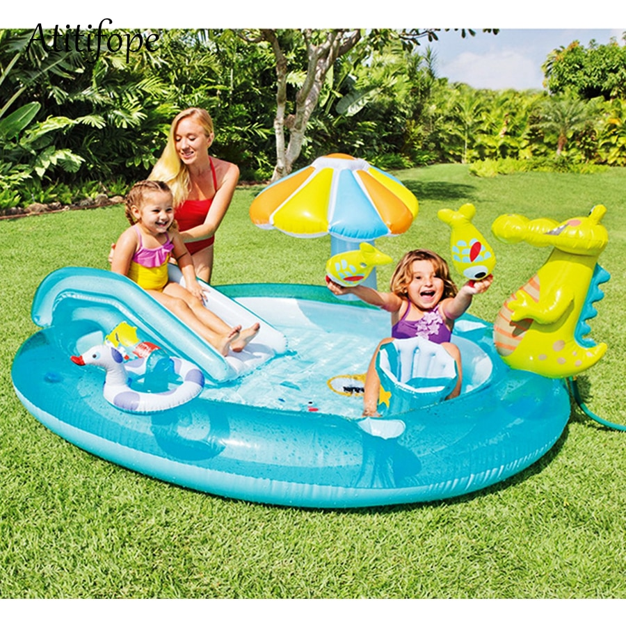 Inflatable Cartoon crocodile pool with umbrella shade baby slide toys family water play pool can be ball pit