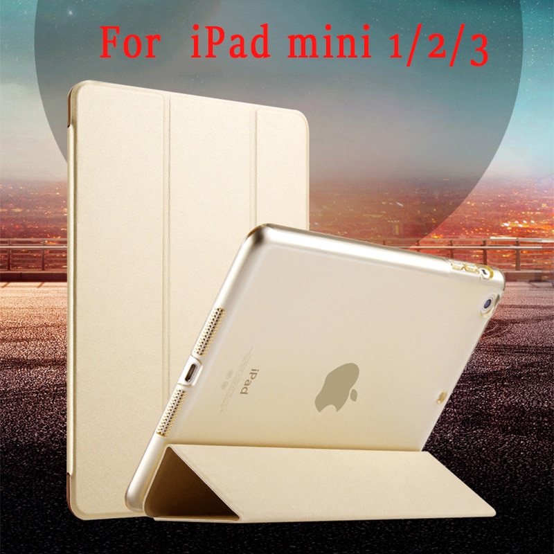 Para o iphone iPad mini 1 2 3 Caso Tablet PU Couro Fino Virar Folding Fique Smart Cover Sono Completo Anti cair para mini iPad Casos