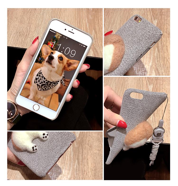 Corgi case handmake igły filcu wełnianego słodkie cat dog tyłek tyłek pokrywa dla apple iphone 6 6s plus iphone 7 7 p miękkie telefon komórkowy case 5