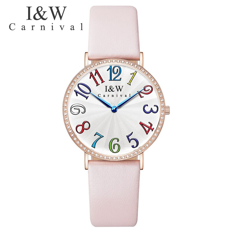 Carnaval colorido cuento de hadas mujer reloj Rosa cuero superior marca lujo Quart vestido reloj a prueba de agua moda chica reloj femenino
