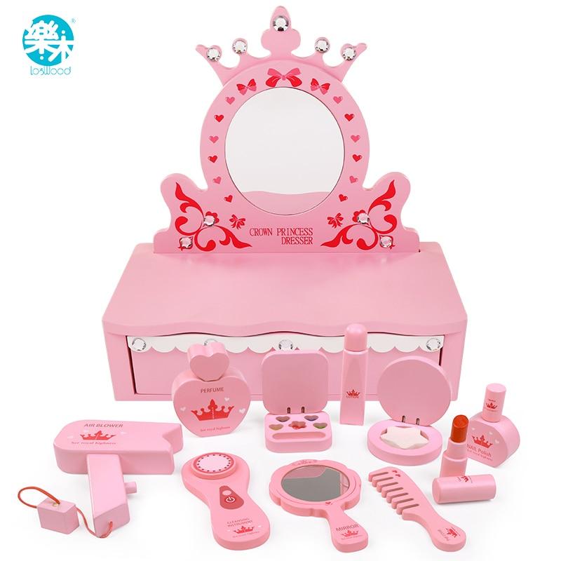 Logwood brinquedos de madeira beleza & moda brinquedos das crianças penteadeira rosa princesa real life cosplay meninas brinquedo presente para crianças