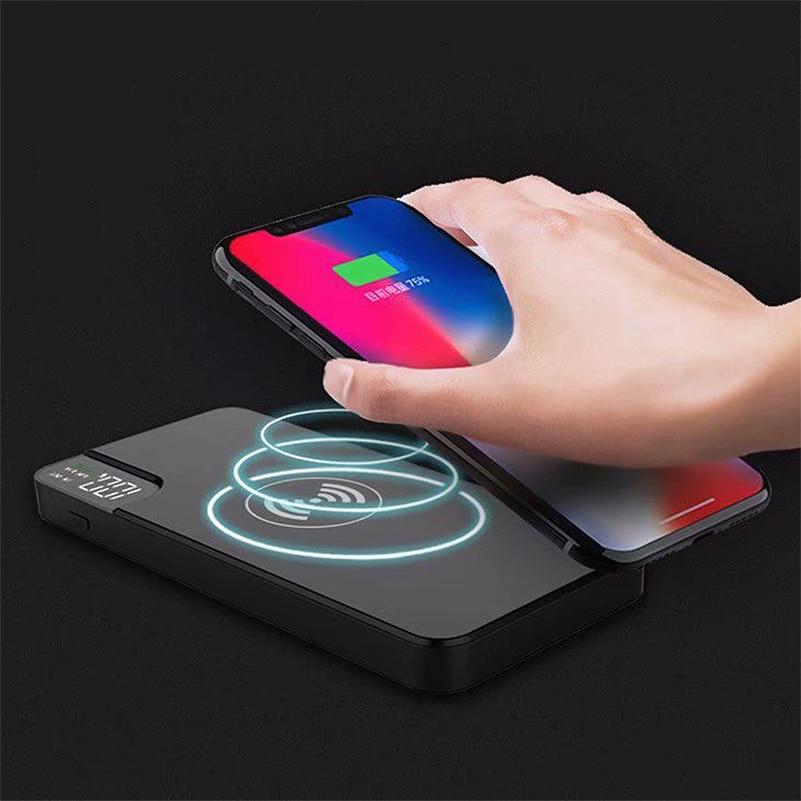 Cargador inalámbrico QI de 10000mAh para iPhone Samsung S8 S9 S7, Banco de energía tipo C, Cargador USB, Banco de batería externo inalámbrico