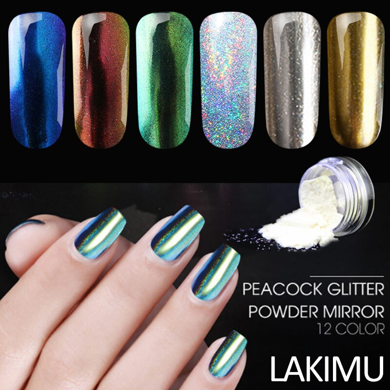 LAKIMU 1 Box Hot Sale Chameleon Mirror Nail Glitter Effect Dust Sheets Tips Nail Chrome Pigment Nail Art Shinny Powder DIY Tools