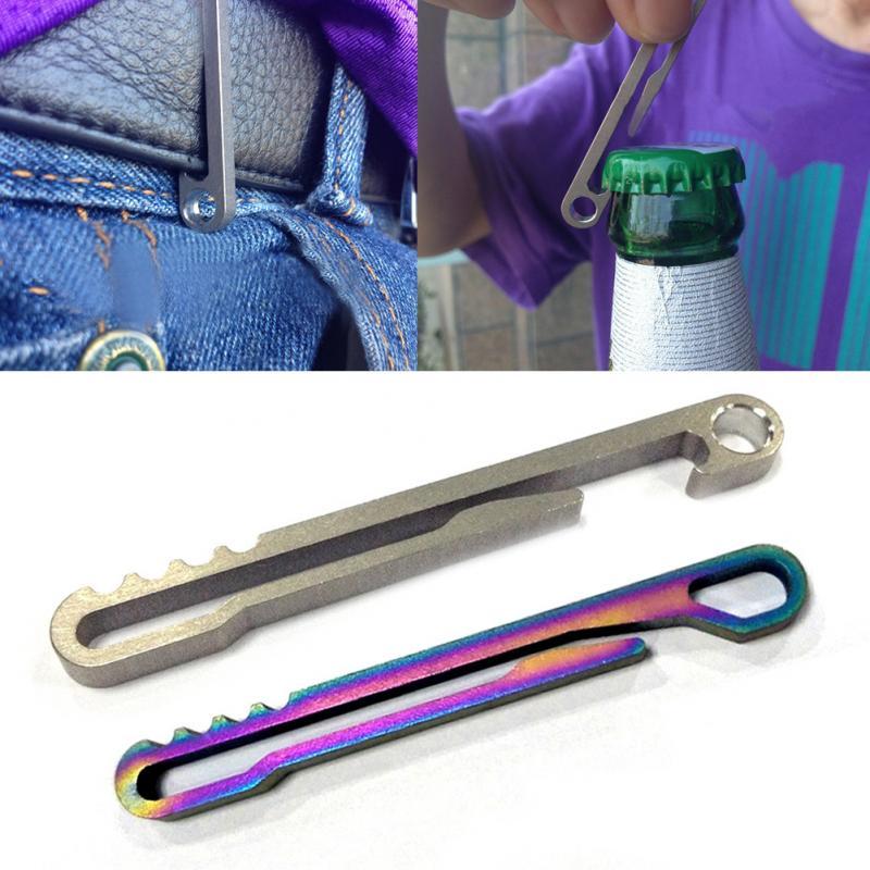 Abrelatas de titanio al aire libre, clip de cinturón, llavero de Ti, hebilla multiusos multifunción, llavero de caminata TC4, anillo edc