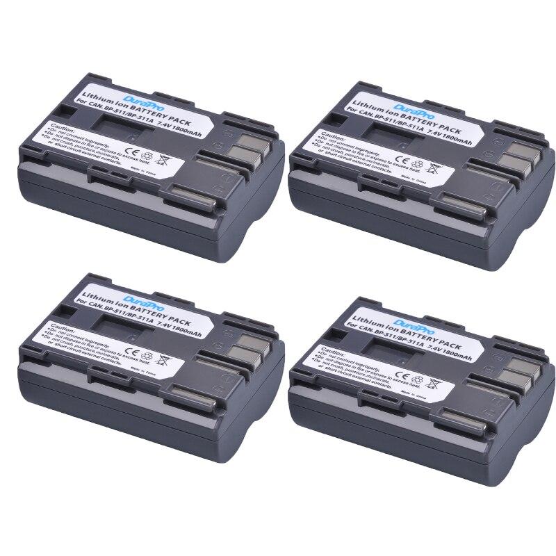 4 Uds DuraPro 1800mAh BP-511 BP511 BP-511A batería recargable para Canon Powershot G6 G5 G3 G2 G1 EOS 300D D30 D60 D50 40D 30D