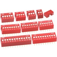 10pcs ds 1p2p3p4p5p6p8p10p 2 54mm flat red dip dial switch red plug in dip switch sliding toggle dip switches
