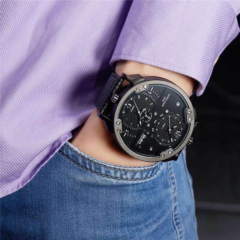 Oulm relógios masculinos, fuso horário múltiplo relógio de quartzo esportivo casual marca de luxo relógios de pulso masculinos