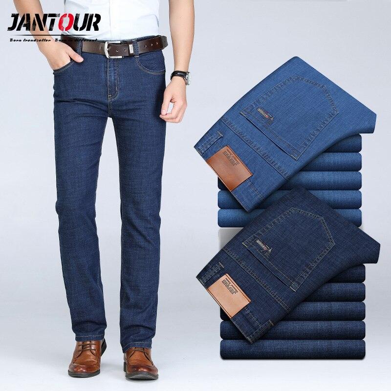 Pantalones vaqueros para hombre, pantalones clásicos de mezclilla, pantalones de negocios para hombre, pantalones casuales sueltos de elasticidad recta, pantalones de talla grande para hombre 40 42 44 46
