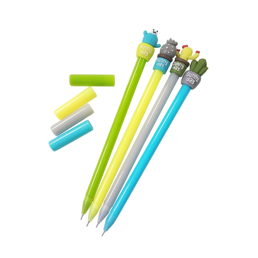 4 unids/lote lindo piña Cactus negro pluma Kawaii bolígrafo de Gel de plástico de dibujos animados oso bolígrafos para la escuela por suministros de oficina papelería