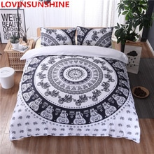 Black white Mandala king size bedding Flower Duvet Cover Set With Pillowcase Bohemia mans Bedding Set Queen Size Bedspread 3Pcs