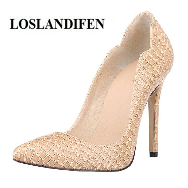 LOSLANDIFEN Women's Pump 11cm Thin High Heels Wave Edges Wedding Shoes Zapatos Mujer Crocodile skin Pattern Patent Leather Shoes