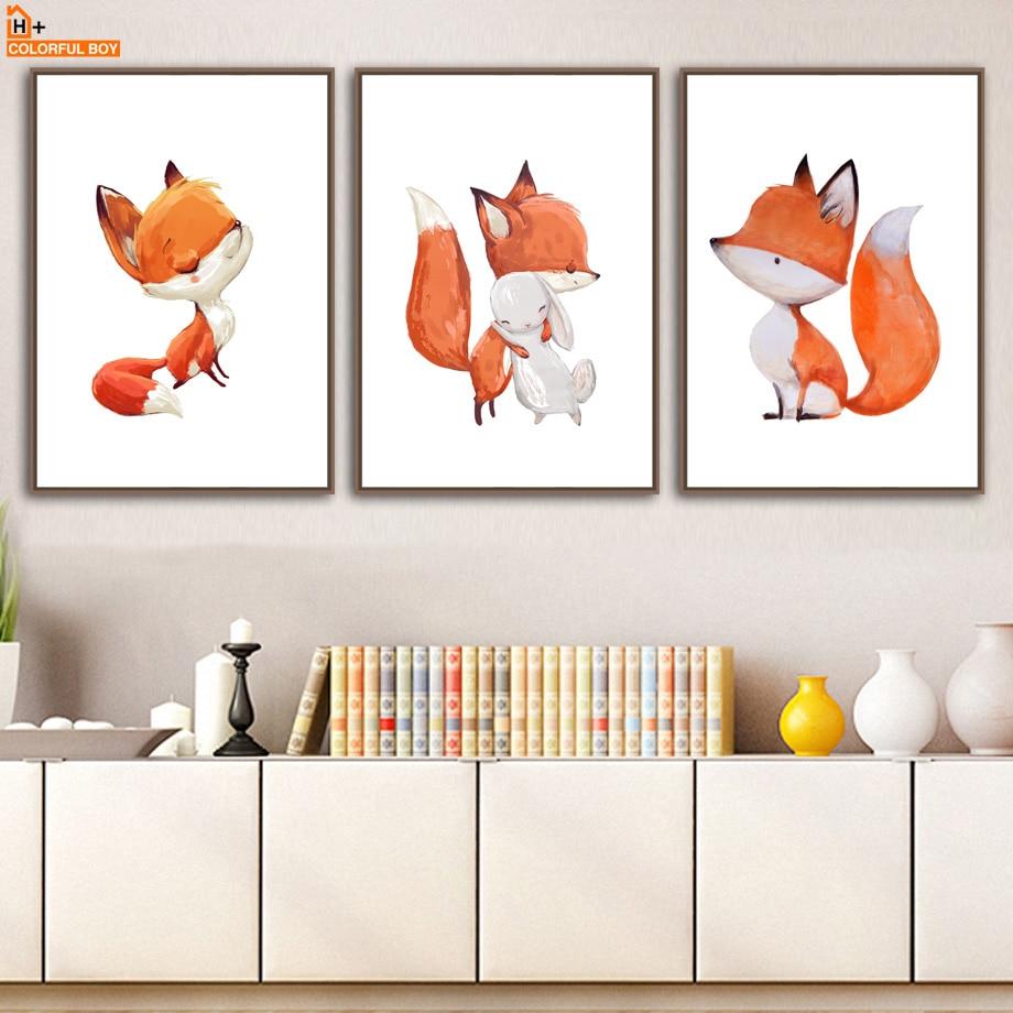 Póster de zorro conejo nórdico COLORFULBOY cuadro sobre lienzo para pared carteles e impresiones cuadros de pared para decoración para sala de estar