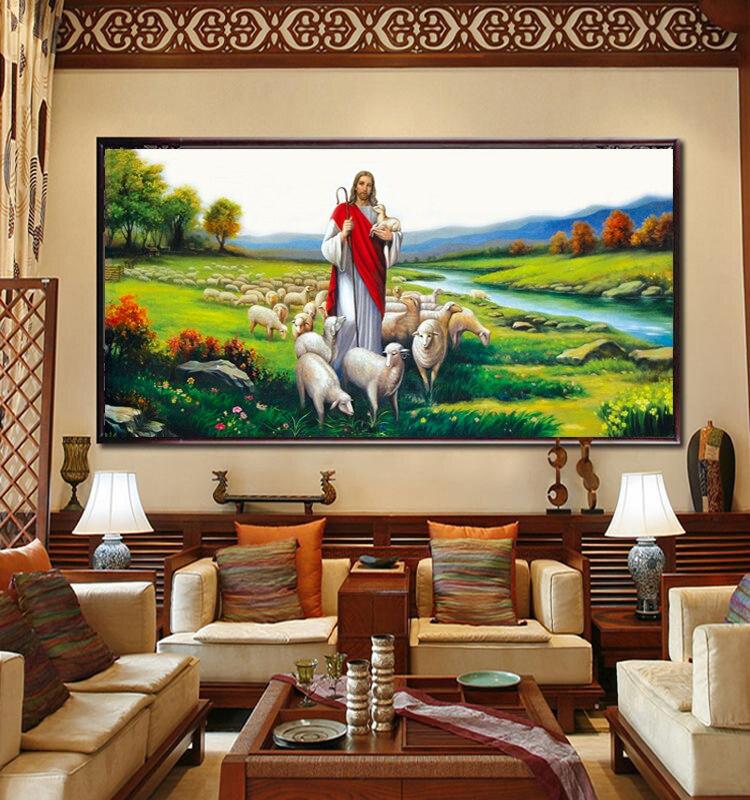 Иисус-пастырь, Набор для вышивки крестиком, фигурки, гостиная, декоративный Рисунок пейзаж, сделай сам, набор для рукоделия, настенный домаш...