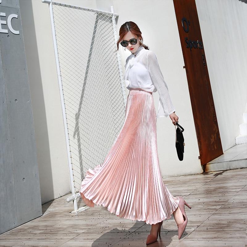 Женская плиссированная длинная юбка, однотонная Расклешенная юбка макси, весна-лето 2021 юбка расклешенная из экокожи