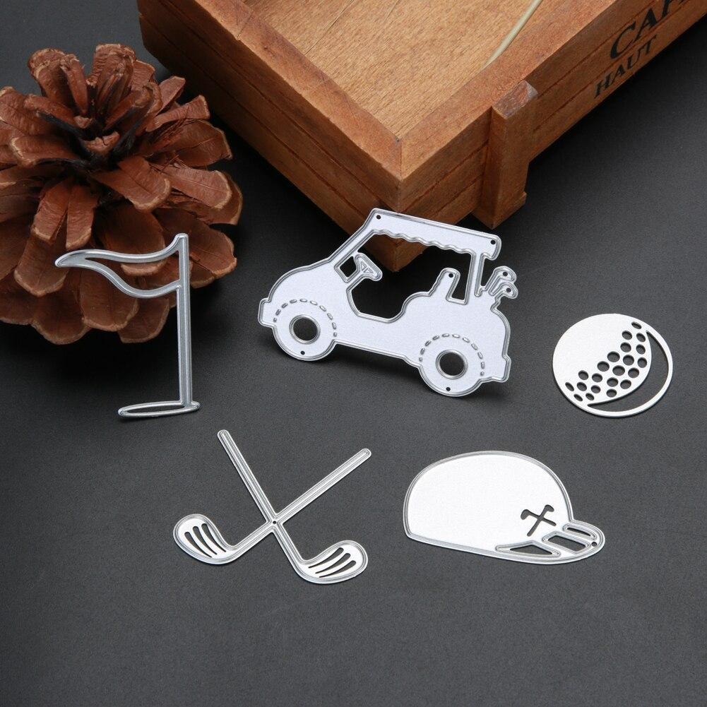 5 uds. Troqueles de corte de Golf de Metal para álbum de recortes plantilla DIY para paredes en relieve decoración DIY troqueles para manualidades para tarjetas de papel