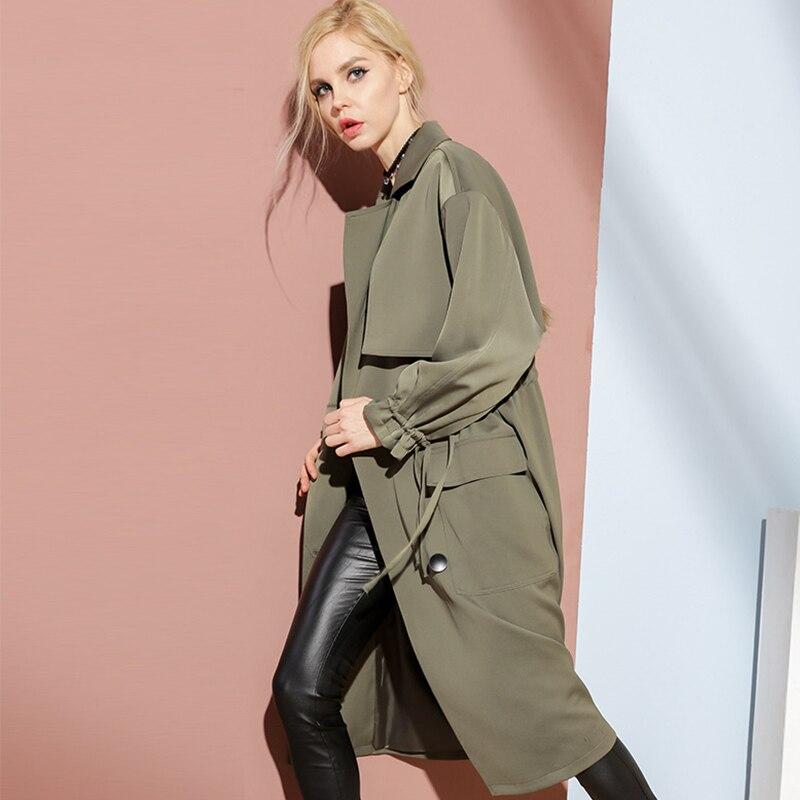 BURDULLY primavera otoño Turn-down Collar invierno mujeres doble Breasted nueva moda suelta cortavientos largos abrigos completos mujer 2018