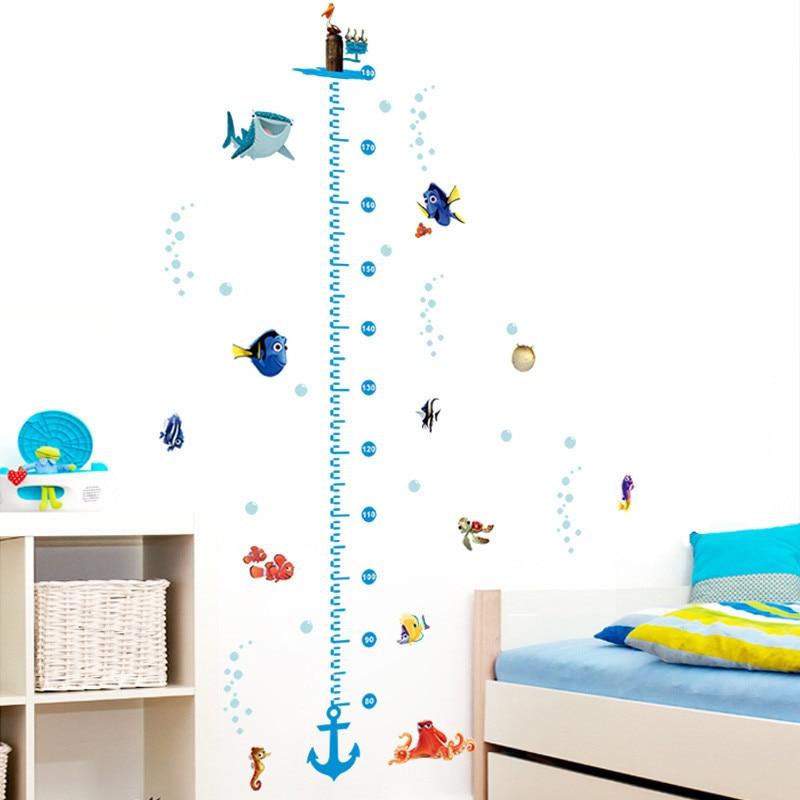 El pescado de altura medida pared pegatinas etiqueta ducha en el cuarto de baño casa decoración Mural dormitorio decoración de la habitación