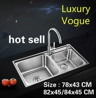 free shipping household standard vogue kitchen double groove sink wash the dishes stainless steel hot sell 78x4382x4584x45 cm