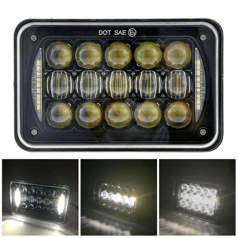 2 uds 5D 60W 4x6 pulgadas LED negro reemplazo de faro Rectangular con alta-Lo Beam DRL para Jeep Ford, sonda, Chevrolet, Oldsmobile