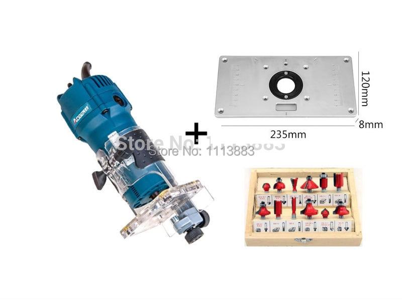 """Inserte la placa + enrutador de Palma Trimmer 520W, 1/4 """"Collet + 12 Uds Router Bit Set 1/4"""" Shank diametro"""