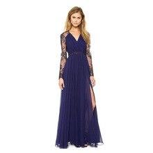 YOUNG VIVA 2019 Women dresses long sleeve V-neck lace Embroidery Chiffon formal dress yb019