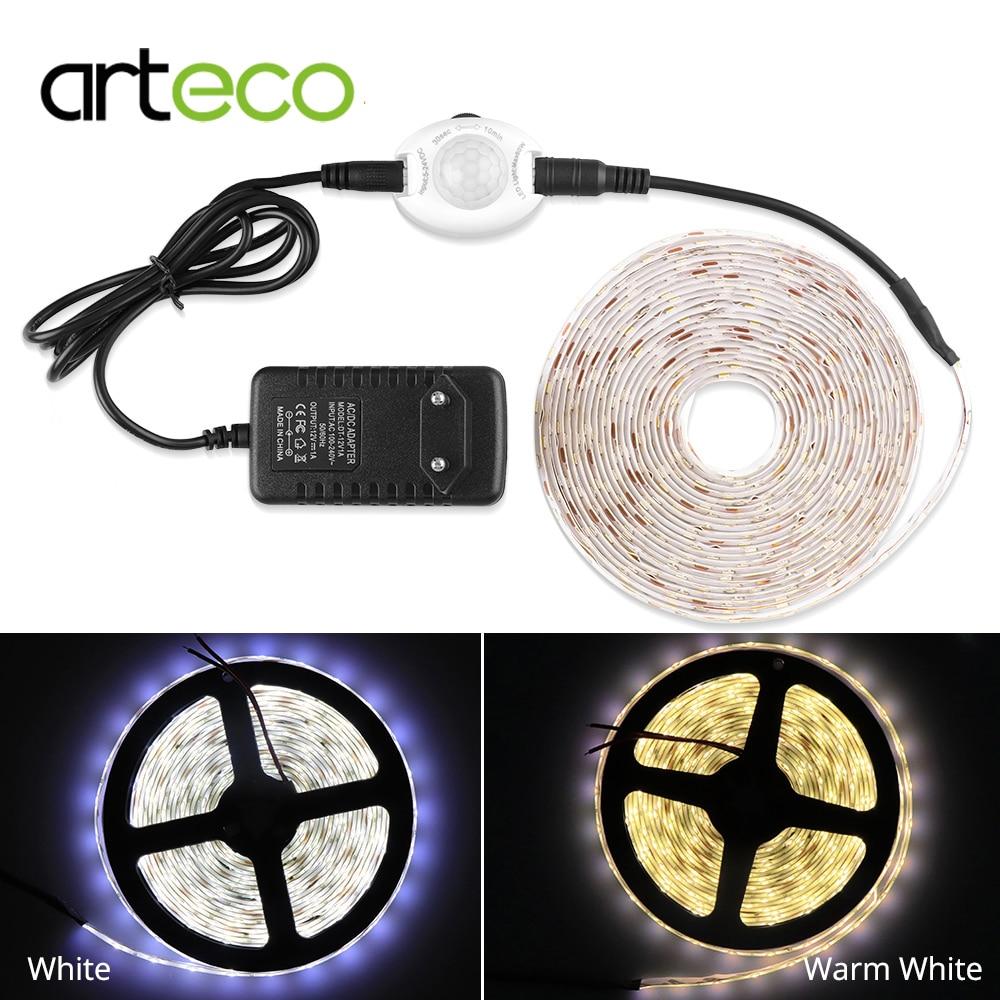 Sensor de movimiento PIR, tira de luz LED IP65 a prueba de agua para interiores, Sensor de luz para el hogar, cinta Flexible, tira LED 2835 1M 2M 3M 5M