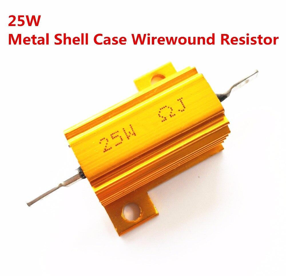 10 pcs 25 W 1.2 1.5 1.8 2.2 2.4 2.5 ohm 1.2R 2 1.5R 1.8R 2R 2.2R 2.4R 2.5R Wirewound alumínio Shell Power Metal Caso Resista 5%