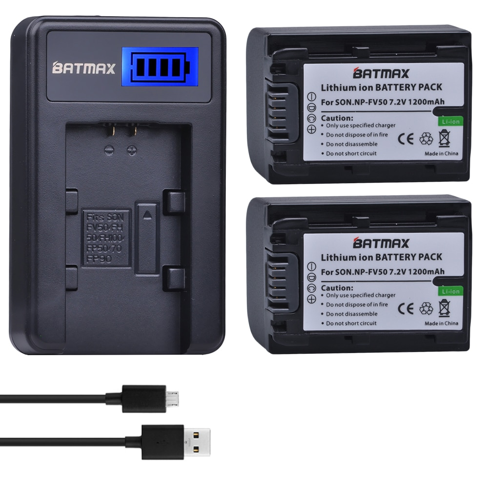 2 шт. NP-FV50 NP FV50 батареи камеры + ЖК-Зарядное устройство USB для SONY HDR CX390 290E PJ510 820E 790E 660E XR260 CX700E PJ50E 30E SR68
