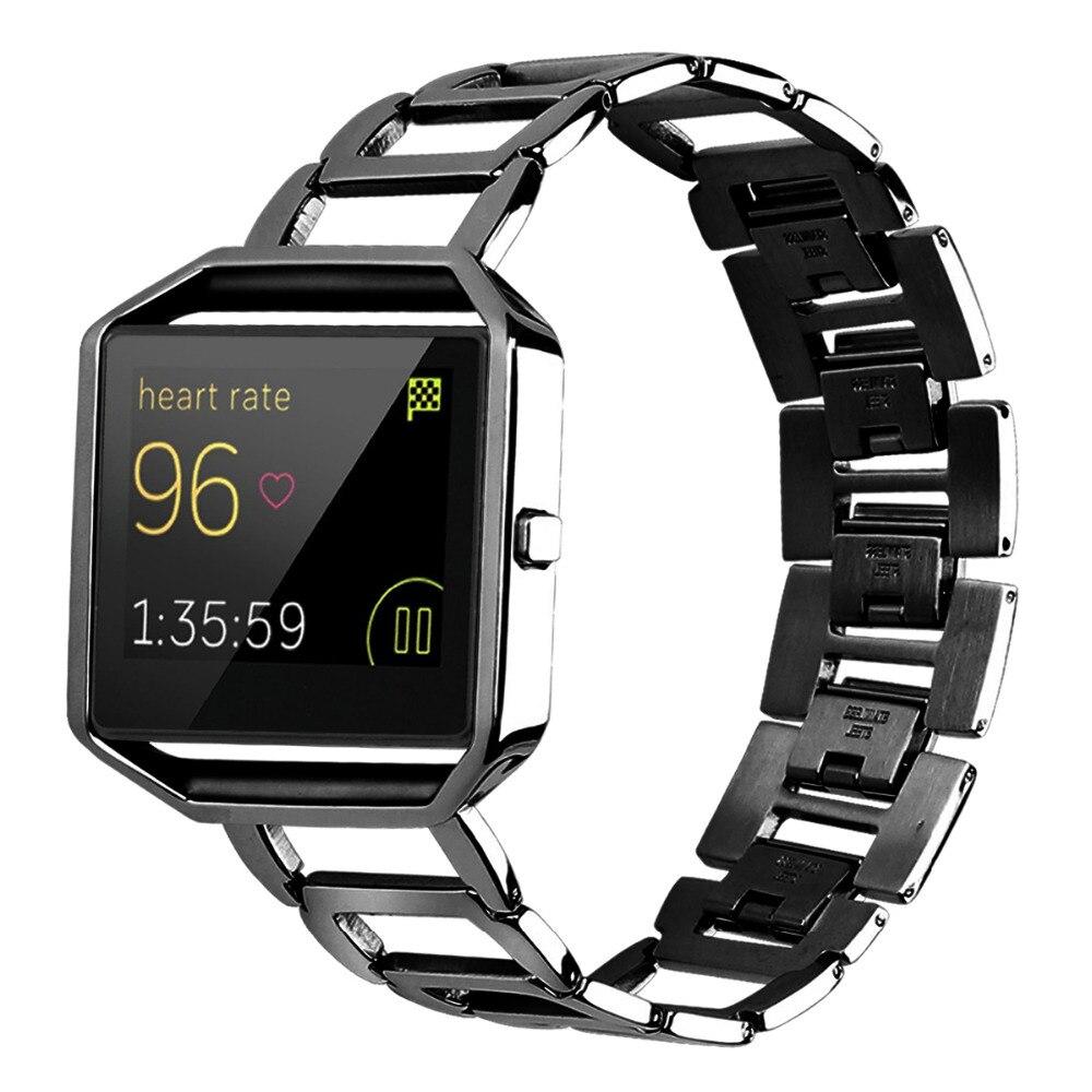Bandas de acero inoxidable con marco para relojes inteligentes Fitbit Blaze correas accesorias de repuesto