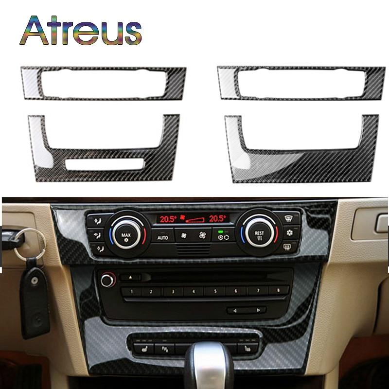 Для BMW e90 полоски из углеродного волокна кондиционер CD панель декоративное покрытие отделка авто аксессуары для интерьера автомобиля Стайл...