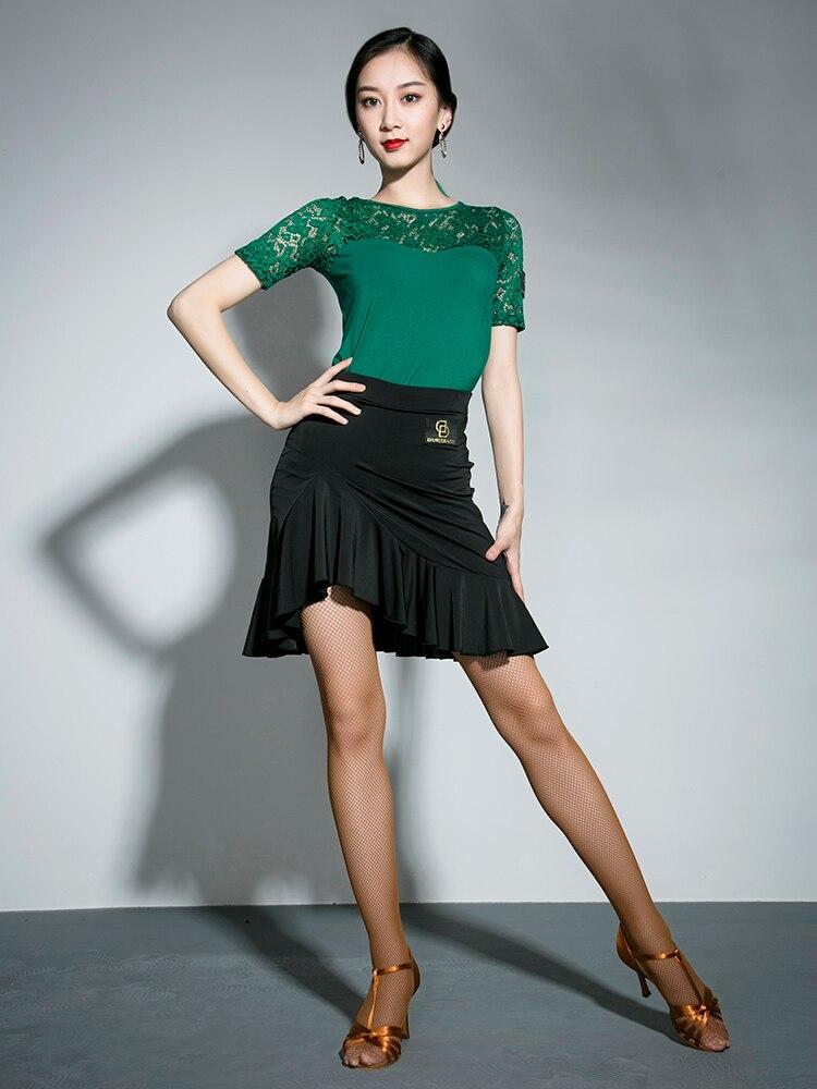 Girls Latin Dancing Dress New Adult Female Dance Practice Skirt Lady Rumba Samba Square Short Skirt D-0641