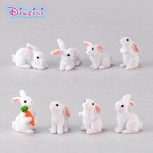 Figuras de conejo blanco de amor de Pascua figuras de animales en miniatura figuras de jardín casero de hadas decoración de muñecas de boda juguete para regalo para niña