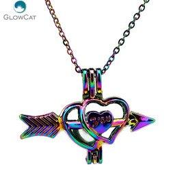 C497 цветов стрелы Амур Сердце ожерелье кулон Арома эфирное масло диффузор медальон ожерелье