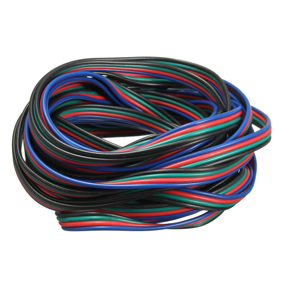 Cordon de câble de connecteur dextension de fil de 4 bornes pour la bande 3528 5050 de LED rvb connecteur coloré 5M