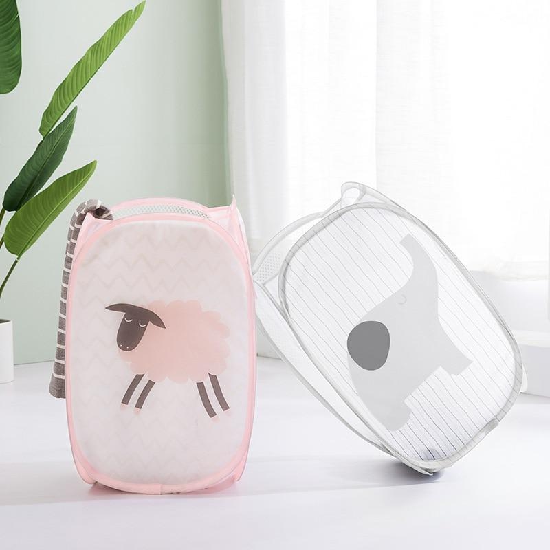 Animal Cartoon Print Clothes Storage Baskets Mesh Sundries Organizer Toy Container Home Supplies
