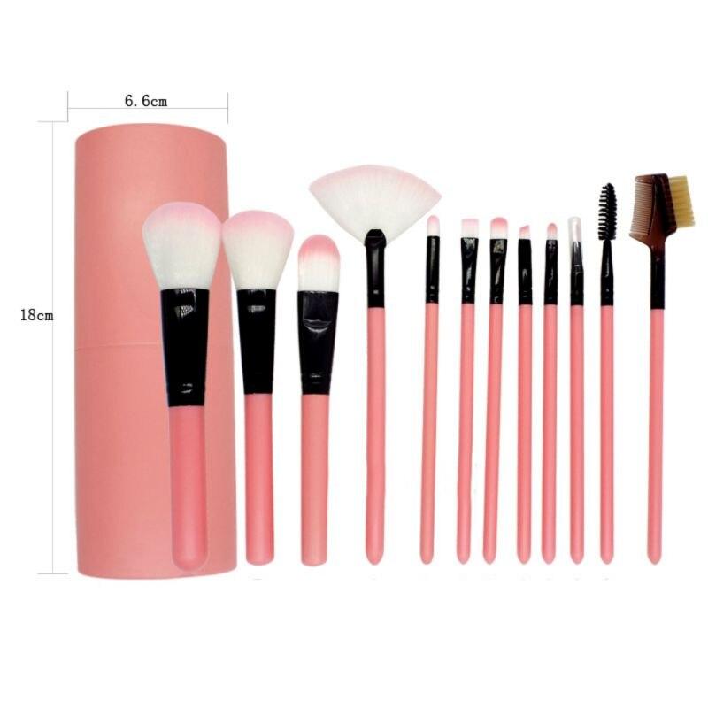 Neue 12PCS Komplette Auge Make-Up Pinsel Set Lidschatten Eyeliner Bleistift Make-Up Pinsel Rose Goldenen Griff Aluminium Topf D1