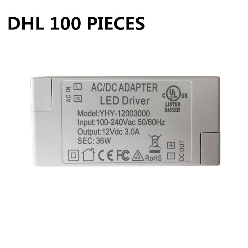3 years warranty DHL 100PCS Constant Voltage Switching Power Supply 36W LED Driver 110V 220V Adapter CE Lighting Transformers