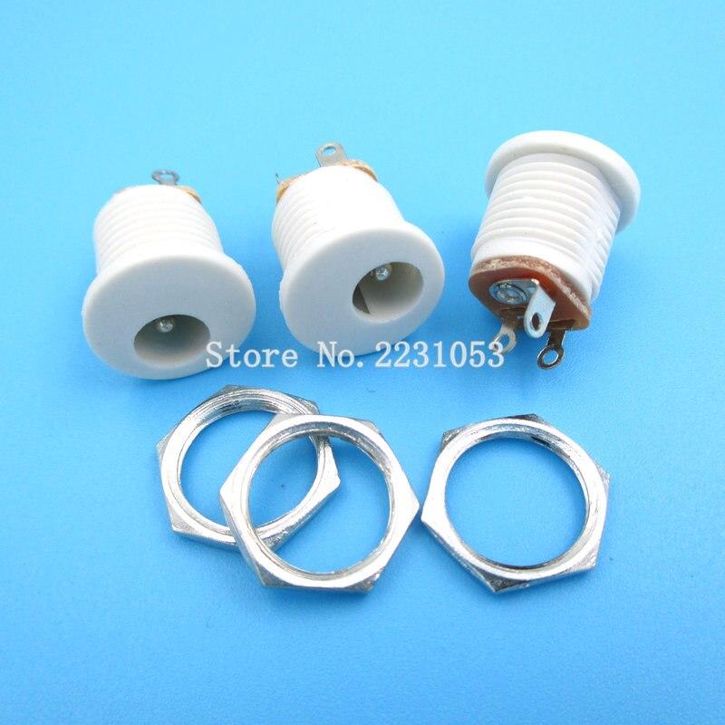 10 unids/lote DC022 5,5*2,1/5,5x2,1mm DC toma de corriente/DC conector Panel de montaje DC-022 DC blanco