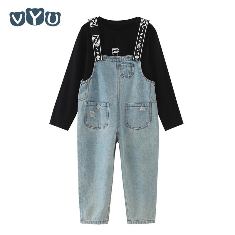 Conjunto de VYU para niñas, Mono vaquero con tirantes para adolescentes, camiseta negra de manga larga para otoño 2018, pantalones vaqueros, pantalón, pantalones vaqueros para niñas, conjunto de 2 uds