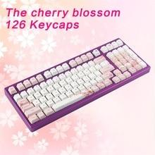 Kbdfans nova chegada cinco superfície sublimação sakura keycaps 126 teclas para teclado mecânico mx cherry switch
