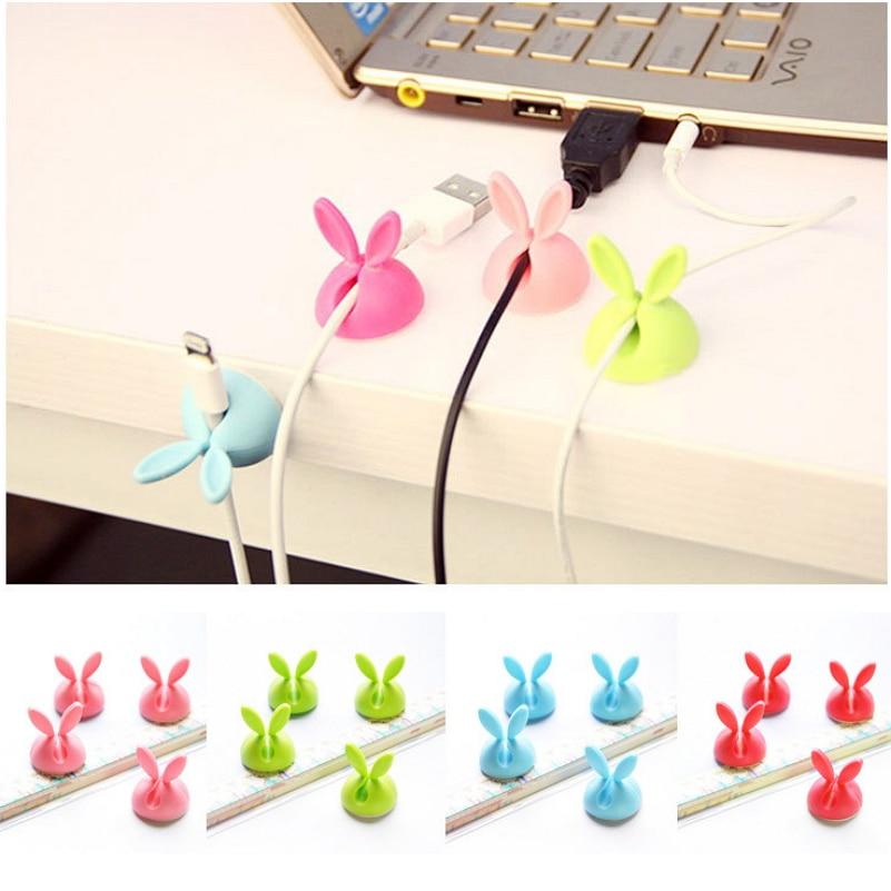 4 Pcs/lot enrouleur organisateur mignon lapin forme câble écouteur câble fil de stockage pince à support de câbles bureau écouteur Fixer bobine pince