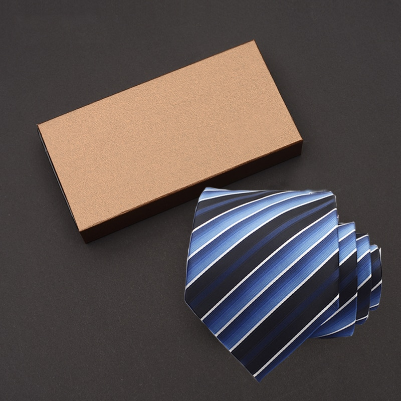 Hot Selling New 2019 High Quality Mens Tie 9CM Width Striped Neckties Wedding Business Party Ties For Men Purple Blue Gift Box