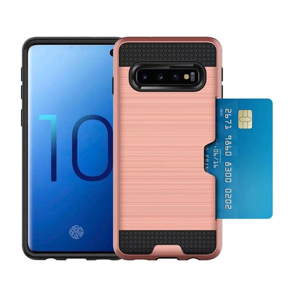 Tarjeta funda, soporte para Samsung S10 Plus Pro Fundas Coque Galaxy S10Plus 10S Fundas de luz Fundas protectoras cepilladas