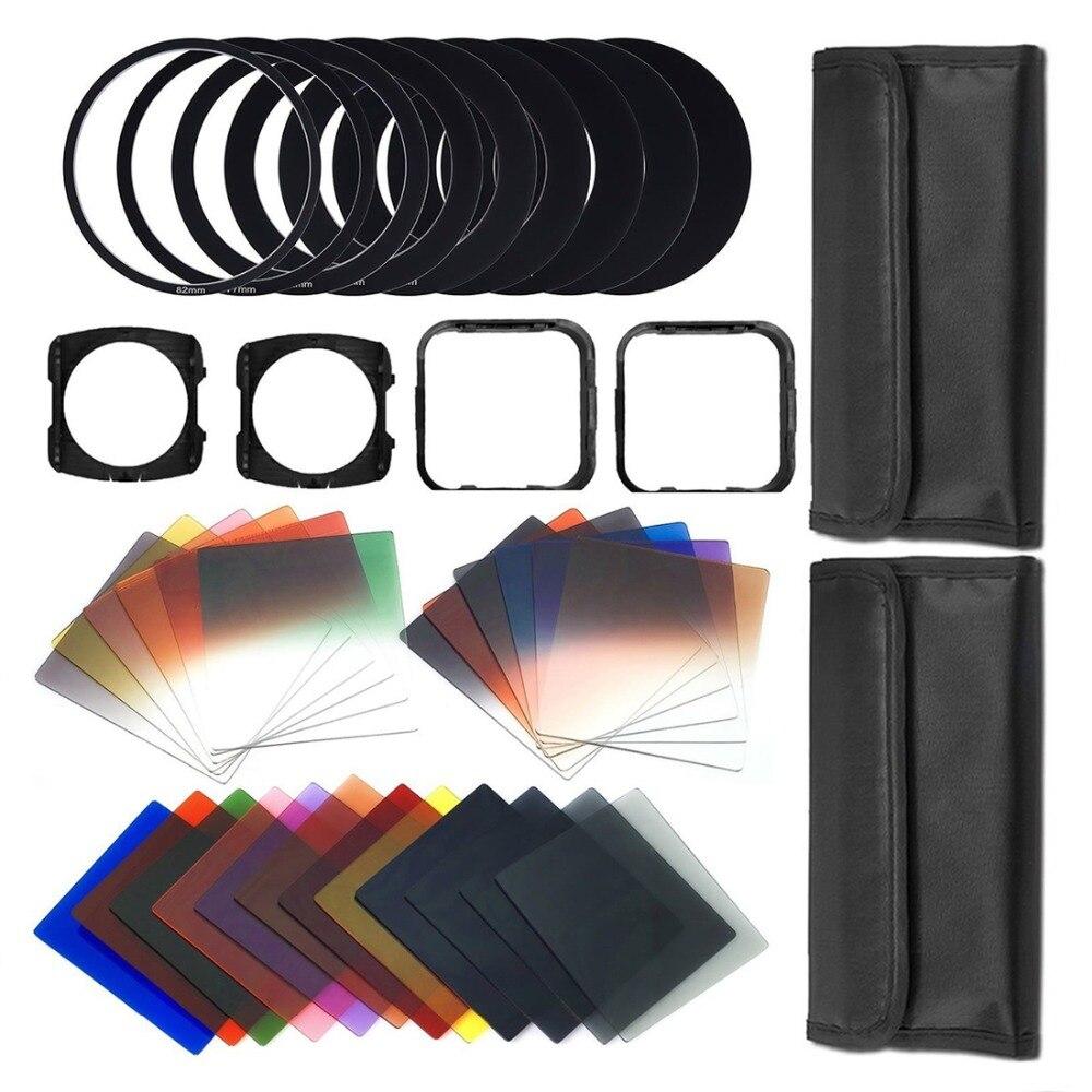 Conjunto de combinação de filtro de fotografia 41pcs quadrado gradiente lentes + nd filtro kit filtros de câmera com 3 pcs microfibra pano limpo