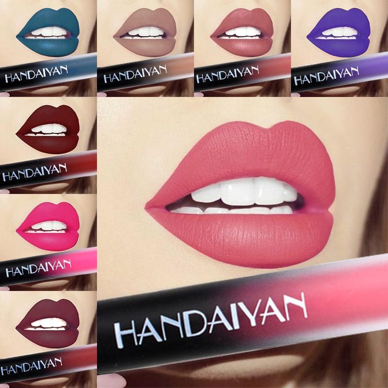 12 Color Liquid Lipstick Matte Waterproof Velvet Lip Stick Nude Waterproof Long Lasting Sexy Red Brown Pigments Makeup Lip Stick