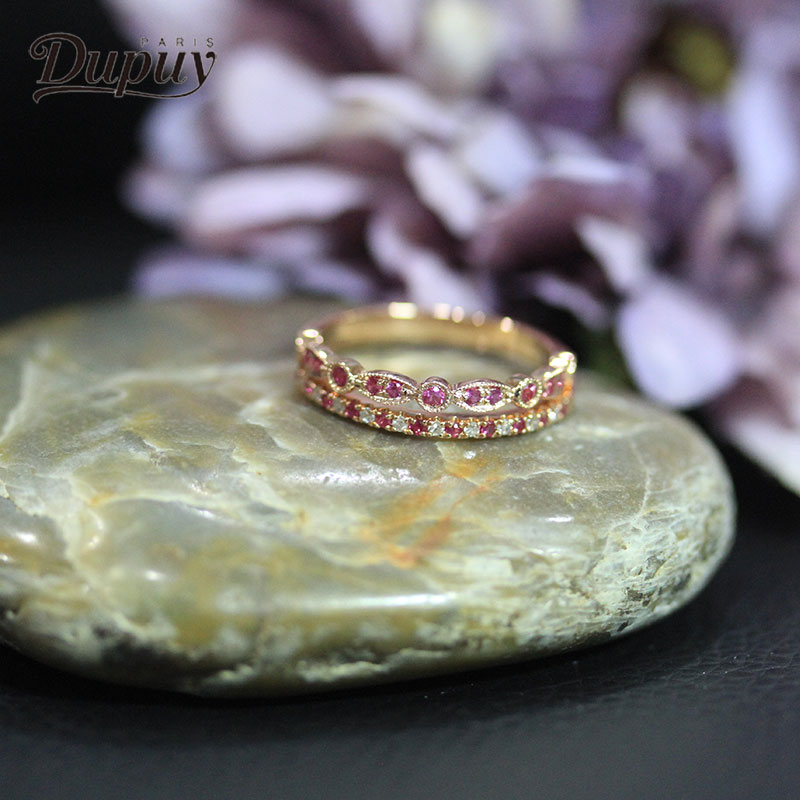 Anillo de bodas DUPUY de oro rosa de 14K, delicado anillo de bodas de media eternidad con diamantes, conjunto de anillo de fósforo artístico de 2 uds, conjunto de novia clásico D180367